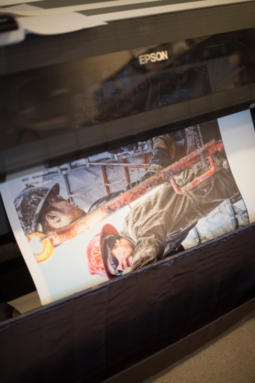36 inch wide canvas (29 inches printed) wide coming off the 44 inch Epson 9900 wide-format printer.